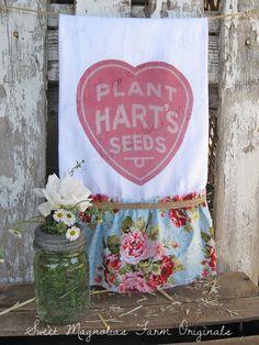 "New Design ... ""PLANT HART'S SEEDS""....Flour Sack Kitchen Towel  by SweetMagnoliasFarm, 18.00"