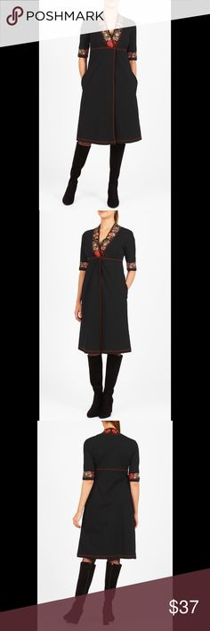 """New Eshakti Black Knit Sheath Dress 18W New Eshakti black floral embellished knit dress. Size 18W Measured flat: Underarm to underarm: 40"""" Empire waist: 37"""" Hips: 48"""" Length: 40"""" Sleeve: 21"""" Eshaki size guide for 18W bust: 45"""" Floral embellishment on low V neck & cuffs, contrast piped trim at center pleat front, empire waist.  Side seam pockets, longer than photo, full- length sleeves. Cotton/spandex, jersey knit, light stretch, light structured feel, mid-weight. Machine wash. New w/ cut out…"""