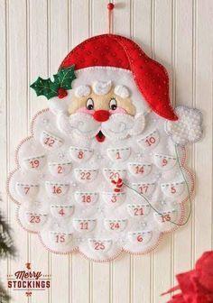 Grand calendrier de l avent en feutrine remplir d coration murale p re no l christmas - Grand pere noel decoration ...