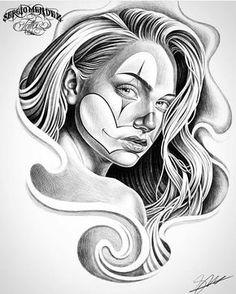 "fbf3c7e38 @mexicanstyle_art on Instagram: ""Clown girl by @tattoosbysergiomendez  #mexicanstyle_art #art #arte #drawing #payasa #clowngirl"""