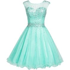 Sarahbridal Girls Short Tulle Beading Homecoming Dress Prom Gown (£49) ❤ liked on Polyvore featuring dresses