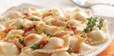 La Salteña Recetas. Ravioles con Salsa de Pollo, Arvejas y Tomates.