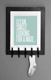 Clean. Single. Looking For a Mate. Fun Laundry Room Art helping socks find love. Makes great Christmas gifts! By Studio 120 Underground, $6