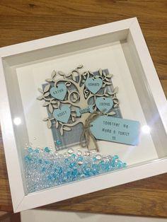 CUSTOM Duck Egg Blue Personalised Family Tree Box by ChaplinandCo Box Frame Art, Shadow Box Frames, Scrabble Frame, Scrabble Board, Family Tree Art, Personalised Family Tree, Birthday Frames, Tile Crafts, Handmade Frames