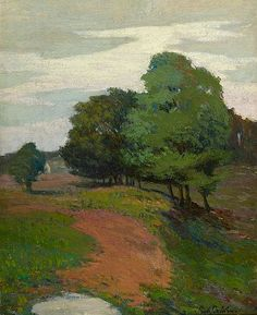 """Untitled landscape, Emil Carlsen, oil on canvas, 20 x 16"""", private collection."""