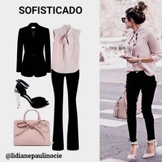 Calça preta+camis Office Fashion, Work Fashion, 40s Fashion, Womens Fashion, Classy Outfits, Chic Outfits, How To Look Skinnier, Look Chic, Casual Chic