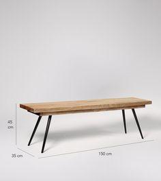 Bench, mid-century modern style in Mango Wood Parquet - £279