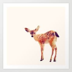 Fawn Art Print by Amy Hamilton - $17.00  My man is gentle towards all living things.