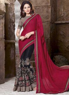 Magical Magenta Black Thread Work Net Chiffon Satin Half n Half Sarees http://www.angelnx.com/Sarees/Designer-Sarees
