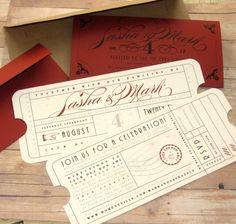 train ticket wedding invitations Orient Express Train Purple