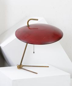 Nicolaj Diulgheroff; Brass and Enameled Aluminum Table Lamp, c1938.