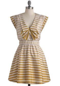 Long Time Cumin Dress by Dear Creatures - Short, Yellow, White, Stripes, Party, Cap Sleeves, Fit & Flare, Pockets