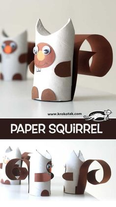 Squirrel from a Klorolle - Top Paper Crafts Animal Crafts For Kids, Fall Crafts For Kids, Paper Crafts For Kids, Crafts To Do, Diy For Kids, Easy Crafts, Paper Crafting, Paper Towel Roll Crafts, Toilet Paper Roll Crafts