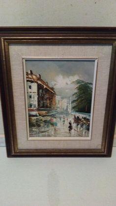 Euro Street scene - Oil Painting on Canvas, 10 x 8 Inch, By Tissony #ArtNouveau
