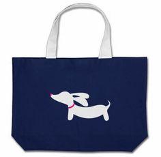 Jumbo Tote Bag | White Doxie Silhouette