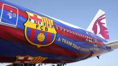 Qatar Airways mostra els colors del FC Barcelona en un Boeing 777