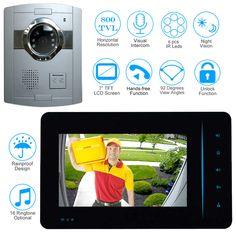 Find More Video Intercom Information about CUSAM New 7 inch Video Doorbell  Monitor Intercom With 800TVL Outdoor Camera Door Phone Intercom System 8c1cdd26b06dc