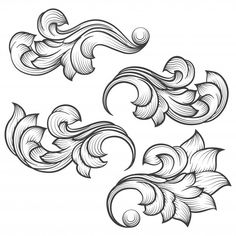 Embroidery Patterns Baroque engraving leaf scroll on - Baroque engraving leaf scroll. Leather Tooling Patterns, Leather Pattern, Filigrana Tattoo, Jagua Henna, Ornament Drawing, Metal Engraving, Engraving Fonts, Scroll Pattern, Leather Carving