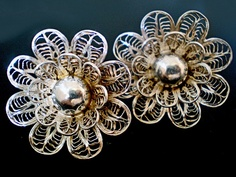 Earrings | Designer ? Sterling silver. c. 1940's - 50's in the Yucatan. |  At first, filigree jewelry was only produced in gold., but silver filigree was ultimately produced in the Yucatan during the 1940's and 1950's.