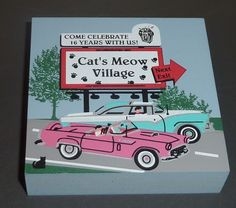 1998 Cats Meow Village ~ Cat's Meow Billboard ~ Hand Signed Faline