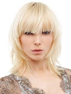 Bangs on short blonde hair