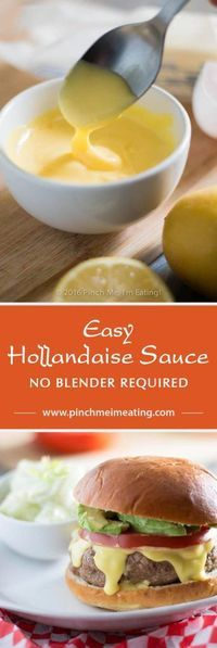 This easy Hollandaise sauce recipe doesn't require a blender, a double boiler, or constant whisking. If you want a thick, creamy, and tangy sauce that's easy to make and an easily-scalable recipe that's a cinch to memorize, give this one a shot! | www.pinchmeimeati...