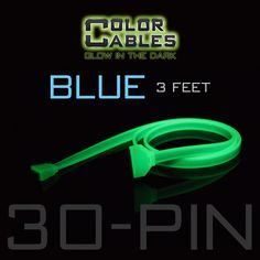 Glow in the Dark Charge & Sync Data Cable By Color Cables. Apple 30 Pin: BLUE (3 Feet) (Glowing) -----  FEATURES: GLOW IN THE DARK: Photo-luminescencent EASY TO CONNECT: EXTRA STRONG & TOUGH: TANGLE PROOF: DIFFERENT COLORS: Blue, Red, Orange, Green, Purple, Grey & Pink DIFFERENT SIZES: 3 Feet & 6 Feet Apple Lightning For: iPhone, iPad, & iPod (New generation) Micro USB For Android, Windows, and Blackberry 30 Pin Dock For: iPhone, iPad, & iPod (old generation)