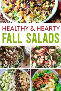 These are the best fall salads to eat when the weather gets cooler. They are packed with veggies and protein - a perfect fall hearty side dish or meal! OHMY-CREATIVE.COM #fallsalads #healthysalads #saladswithfruit #saladswithsquash #fallsaladrecipes Winter Salad Recipes, Easy Salads, Healthy Salad Recipes, Fall Recipes, Vegetarian Recipes, Drink Recipes, Healthy Weeknight Meals, Salad Dishes, Easy Pasta Salad