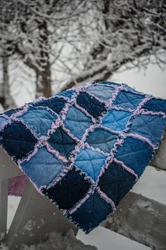 Denim Baby Girl Blanket with Ragged Seams by CrookedSeamz on Etsy