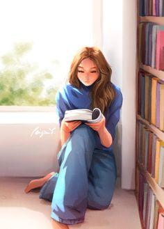 Reading Art, Girl Reading, Cartoon Girl Drawing, Girl Cartoon, Art Anime, Anime Art Girl, Psy Art, Girly Drawings, Digital Art Girl