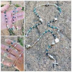 Handcrafted sterling silver, wire wrapped, bead inspired rosary.