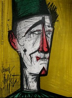 Bernard BUFFET : Lithographie originale : Jojo le clown, 1967