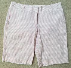 J Crew Women's Pink White Striped Seersucker City Fit Bermuda Short Size 4 | eBay