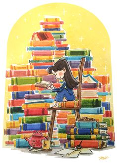 """michellehiraishi: """" These are two pieces that I did for Fan Alley's next """"Roald Dahl and Shel Silverstein Tribute Show"""" based on Roald Dahl's """"Matilda"""" and """"Charlie and the Chocolate Factory! I Love Books, Good Books, Books To Read, Illustrations, Book Illustration, Reading Art, Reading Books, Book Drawing, World Of Books"""