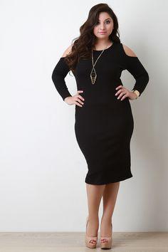 408577572f Cold Shoulder Ribbed Knit Midi Dress. Plus Size Bodycon DressesRib ...