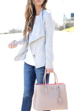 Jacket:BB Dakota | Tee:Everlane| Bag: Prada | Jeans: Current Elliott