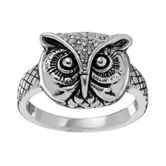 Silver Tone Simulated Crystal Textured Owl Ring, Women's, Size: 8, multicolor