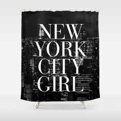 New York City Girl Black & White Skyline Vogue Typography Shower Curtain by RexLambo - $68.00