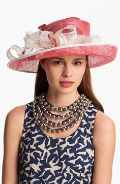 Coral Hat + Navy Dress = The perfect derby combo