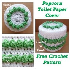 Brighten up your bathroom with this crochet popcorn toilet paper cover, it fits a standard size roll, if you wish you can easily adjust the . Crochet Toilet Roll Cover, Crochet Towel, Crochet Hooks, Free Crochet, Modern Crochet Patterns, Crochet Designs, Crochet Crafts, Crochet Projects, Knitting Projects