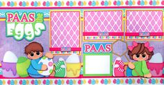 PAAS THE EGGS ~ Easter 2 premade scrapbook pages paper piecing boy girl CHERRY #BowlFullofCherriesScrapbooking