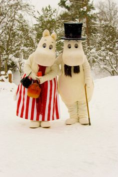 """Real life Moominmamma and Moominpappa in """"Muumimaa"""", Naantali, Finland"""