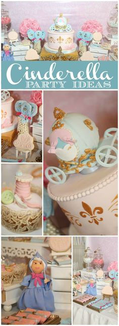 Love this gorgeous Cinderella princess party in pink and blue! See more party ideas at CatchMyParty.com!