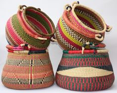 Bolga Baskets - Gorgeous Gambibgo Pot Baskets, Great for storage or just to look pretty. Woven by skilled artisans in Ghana, Africa. #interiortrends2016 #africanbaskets