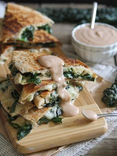 white bean and kale quesadillas with creamy BBQ dip