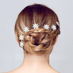 Flower Shaped Rhinestone Alloy Hairpins(Sold in single piece) (042075692)  Braided dafbf99c27cc