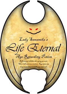 """Love the dragon wing shape of this label for """"Life Eternal"""". More potion labels Halloween Apothecary Label Halloween Apothecary Labels, Halloween Bottle Labels, Halloween Spells, Halloween Potions, Theme Halloween, Halloween Books, Halloween Projects, Holidays Halloween, Vintage Halloween"""