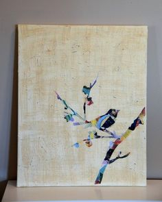 This looks fun. Cover a canvas or board with a collage of colorful magazine scraps, trace the bird on branch or your choice and paint over the rest of the canvas.