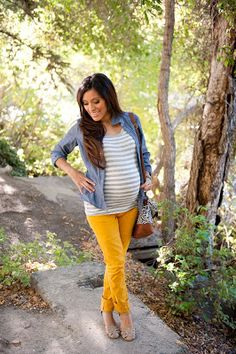 Bright skinny jeans, fitted shirt, and jean jacket. Great transition wear from summer to fall.