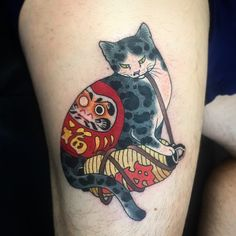 tattoos in japanese prints Japanese Tattoo Symbols, Japanese Tattoo Art, Japanese Tattoo Designs, Cute Tattoos, Leg Tattoos, Body Art Tattoos, Tatoos, Japanese Cat, Japanese Sleeve
